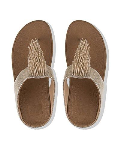 Fitflop Cha Cha Toe Sand-Shimmer Pr - Sandalias de Mujer EN Color Gold