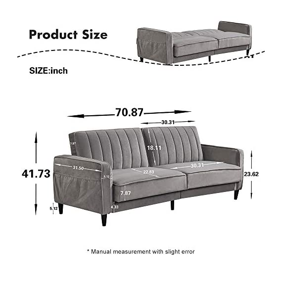 Sofa Bed Living Room Furniture Sets, Tufted Futon Wide Chaise Lounge Couch for 3 Seats, with Premium Velvet Upholstery… - [Vintage design]: with a soft velvet upholstery and tapered wooden legs; vertical stitching with Tufted design on Back Cushions. Premium velvet upholstery with side pockets to place some magazines and remote controls. [Multi-functional use]: Ideal for small living spaces; split Back design that allows to change to multiple positions: sitting, lounging and sleeping. Sits up to 3 people comfortably. Available to best fit your Home decor. [Sturdy and durable]: padded Arm rests provide extra seating comfort and padding under the feet to protect your floors from scuffs and scratches. Solid wood frame and legs make the sofa durable. - sofas-couches, living-room-furniture, living-room - 41IX8sLH9RL. SS570  -