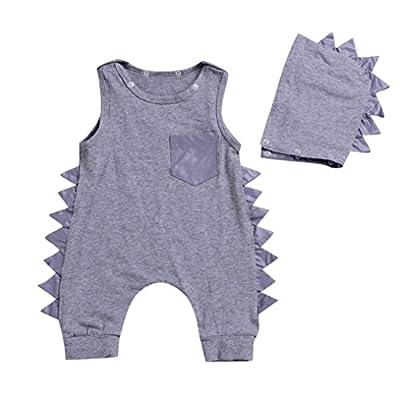 Fiaya Baby Boys Girls Dinosaur Harem Sleeveless Romper Onesie One-Piece Bodysuit Jumpsuit Outfits | NB-3T