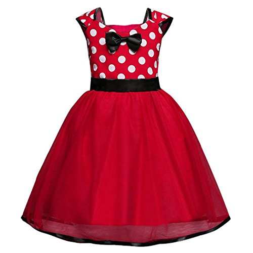 Pageant Polka Dot - Minisoya Baby Girl Princess Dress Outfit Bridesmaid Pageant Ball Gown Polka Dot Bow Birthday Party Tutu Dress Costume (Red, 3T)