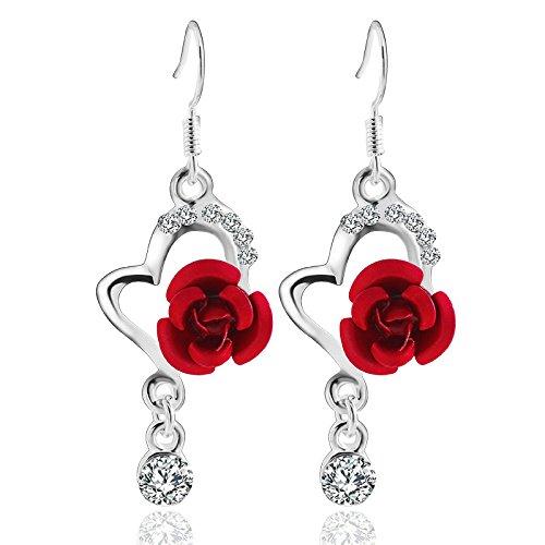 Minshao Big Diamond Pendant Fashion Long Paragraph Earrings Rose Earrings (Red)