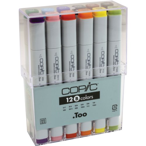Copic Classic Original Marker Basic Set: Square Barrel, Broad and Fine Nibs, 12 Assorted Colors (CB12) by Copic