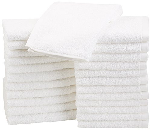 AmazonBasics Cotton Washcloths, 24 - (White Washcloth)
