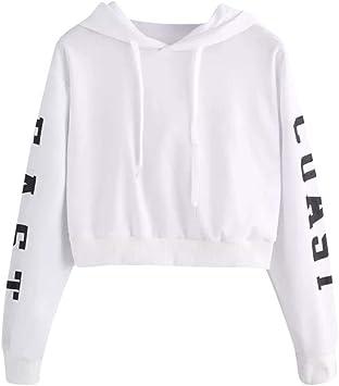 Sweatshirt Femme Imprimé, LMMVP Femmes Sweat à Capuche Des Lettres Pullover Sweat shirt Chemisier Polyester (XS, blanc 2018)