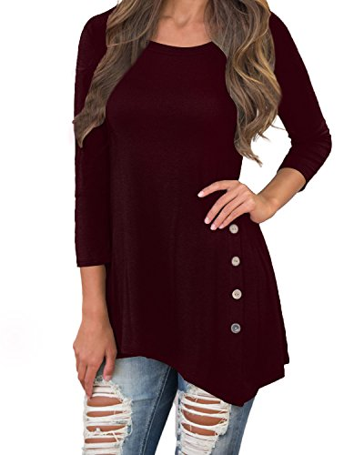 ZANZEA Women Tunic Shirts Tops 3/4 Sleeve Loose Scoop Neck Button Casual Cotton Dress Wine Red US 6-8 (Neck Top 3/4 Sleeve Scoop)