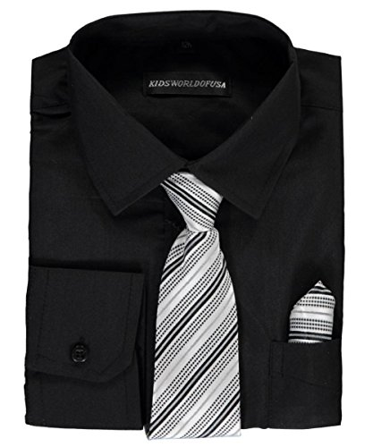 Kids World Big Boys' Husky Dress Shirt With accessories - Black, 18 Husky