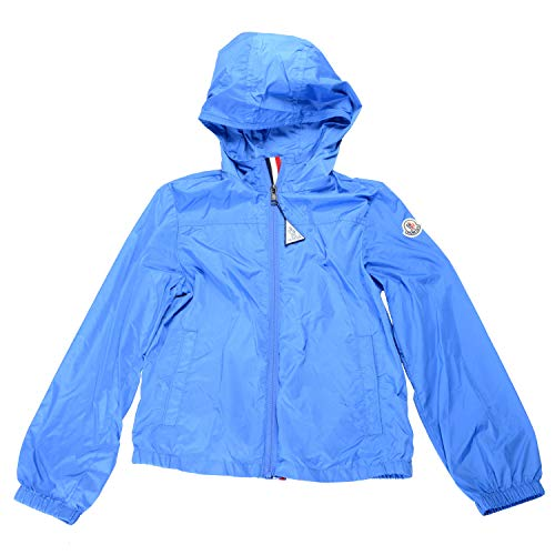 Moncler Kids's FRONSAC Blue Hooded Full Zip Windbreaker Jacket Moncler Sz 12A US 12 Years ()