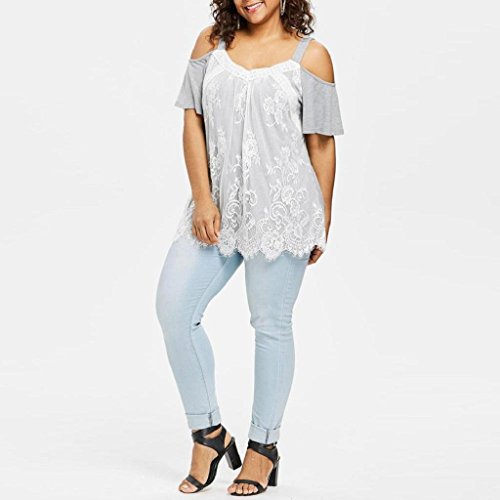 Casual Manches Chemise Shirt Femmes Size Trydoit Courtes Plus Top T Dentelle Dames Noir Gris Cils Blouse Lache xfqHIwUY
