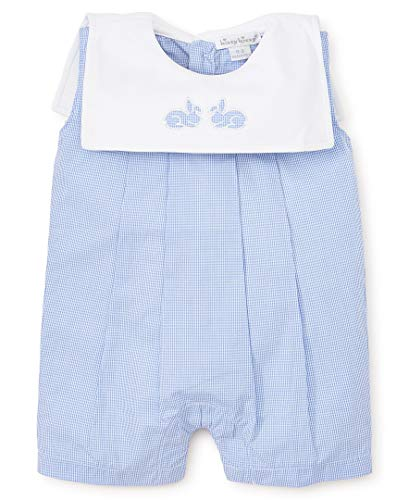 Bunnies Pique - Kissy Kissy Baby-Boys Infant Pique Bunny Hop Blue Sleeveless Short Playsuit-Blue-0-3 Months