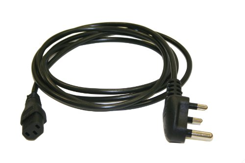 (Interpower 86265010 India/South Africa Cord Set, SANS 164-1 Plug Type, IEC 60320 C13 Connector Type, Black Plug Color, Black Cable Color, 10A Amperage, 250VAC Voltage, 2.5m Length)