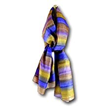 Handmade 100% Silk Scarf ribbed with stripes 20x70 Inches (Copper Blue)