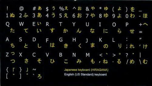 JAPANESE HIRAGANA-ENGLISH NON-TRANSPARENT KEYBOARD STICKERS BLACK BACKGROUND