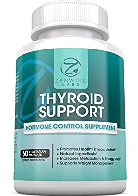 Thyroid Support Supplement - For Wellness, Diet & Weight Loss for Men & Women - Boosts Energy & Metabolism - With Vitamin B12, Iodine, Kelp, L-Tyrosine & Ashwagandha - 60 Vegetarian Capsules
