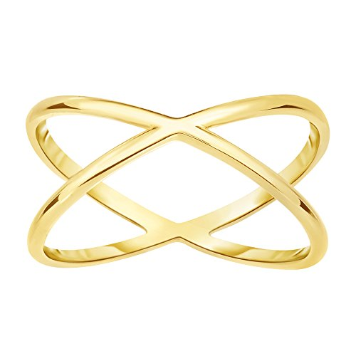 14K Yellow Gold Cross Over X Design (14k Yellow Gold Crossover)