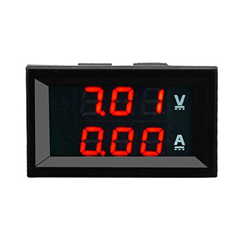 Baynne 100V 10A DC Digital Voltmeter Ammeter Blue + Red LED Amp Volt Meter Gauge(Color:Red)