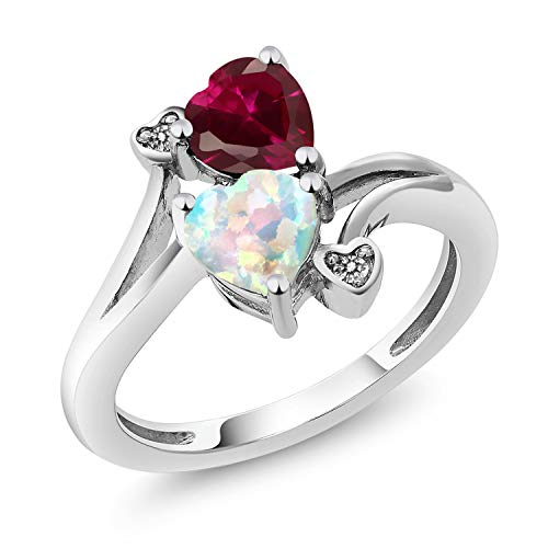 Gem Stone King 1.75 Ct Heart Shape Simulated Opal Red Created Ruby 10K White Gold Diamond Ring (Size 8)