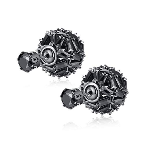 Vogzone Vintage Hollow out Double Side Round Ball & Black CZ Stud Tribal Earrings for Women & Men ()