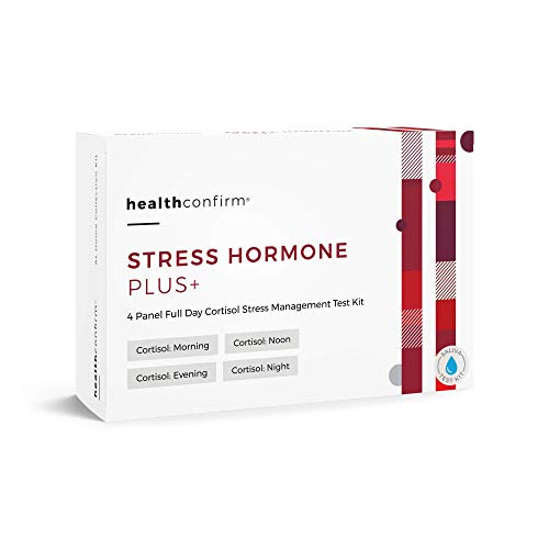 HealthConfirm Stress Hormone Plus, Full Day Cortisol Balance Saliva Collection Test Kit, Cortisol 4X (4 Panel) (Best Way To Treat Low Testosterone)
