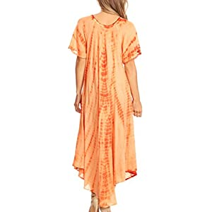 Sakkas 60SE Melika Tie Dye Caftan Dress - Rust - OS