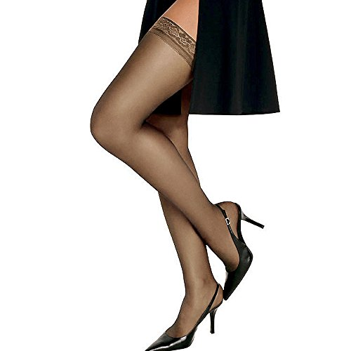 (Hanes Women`s Set of 3 Silk Reflections Silky Sheer Thigh High - Best-Seller! AB, Barely There)