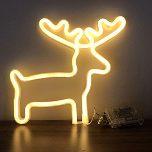 MUMUXI Animal Series Led Neon Light Sign Flamingo Bat Cat Deer Starfish Sign Night Lights Wall Decor Home Decoration Light for Kids Room,Bedroom,Birthday,Wedding Party Gift (Deer-Warm white) by MUMUXI