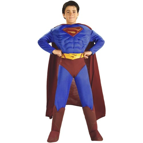 Deluxe Muscle Chest Superman Costume,Small 4-6 ()