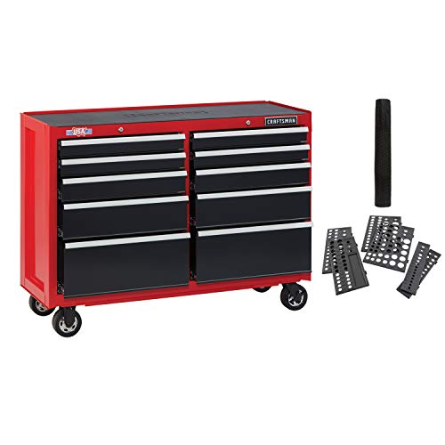 CRAFTSMAN Tool Cabinet with Drawer Liner Roll & Socket Organizer, 52-Inch, 10 Drawer, Red (CMST82775RB)