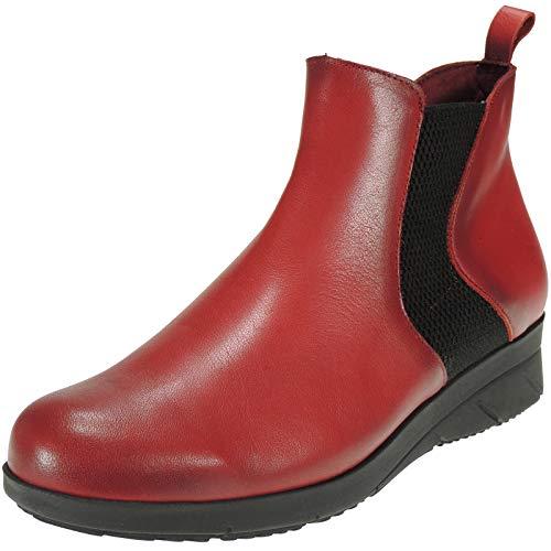 3394 Clakers Elástico Para 3 2 Cremallera Con Piel Botín Casual 5cm Mujer Y Rojo Cuña Modelo OwOrp