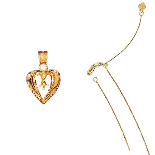 14K Yellow Gold Heart with Mounting Pendant on an Adjustable Box Chain Necklace, (14k Yellow Gold Mens Mounting)