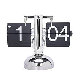 Gregarder Digital Retro Clock Flip Down Internal Gear Operated Single Stand Clock(Black)