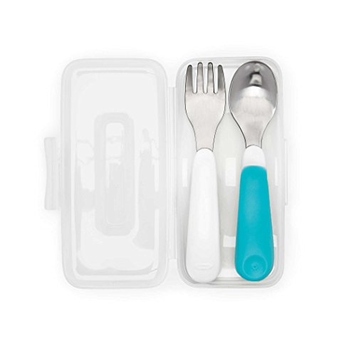 OXO Tot On-The-Go Fork & Spoon Set with Carrying Case, Aqua