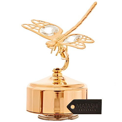 24K Gold Plated Music Box with Crystal Studded Dragonfly Figurine by Matashi