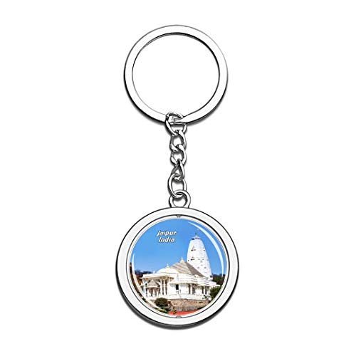 India Keychain Birla Mandir Temple Jaipur Key Chain 3D Crystal Spinning Round Stainless Steel Keychains Travel City Souvenirs Key Chain Ring ()