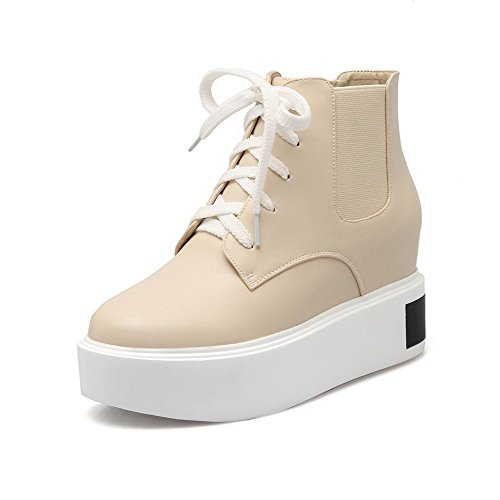 VogueZone009 Women's PU Low-top Solid Lace-up High-Heels Boots, Apricot, 36