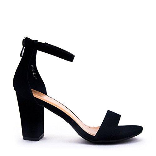 Women's Ankle Strap Chunky Heel Sandal with Zipper Closure (Black, 7.5 B(M) US)