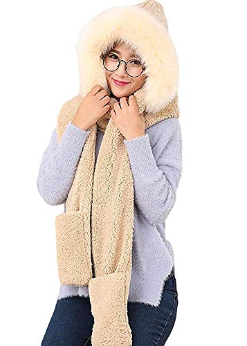 Womens Winter Warm Thick Fleech Hood Scarf 3 in 1 Snood Pocket Hats Gloves