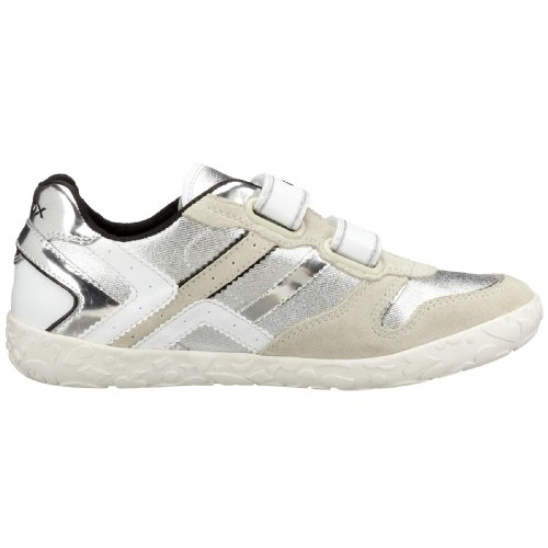 Geox J Kyras J01D4D, Synthetic Casual Trainers Silver Size: 2.5 EU 35