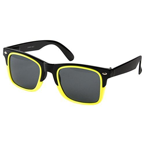 Nuevas para Amarillo Gafas UV®400 Retro Vintage Negro clásico Nerd Ciffre mujer de sol hombre R511qK
