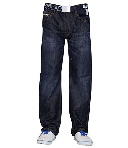 sin rígida Denim Smith Jones recto Jeans pantalones para amp; hombre para Regular Wash corte funda cinturón New Dark nz6S1S