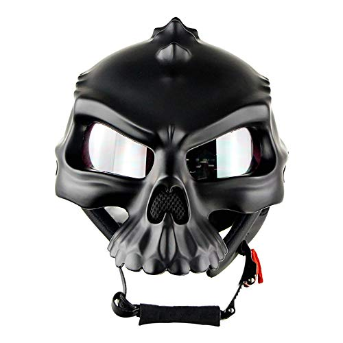 Boys Street Youth Skull Hardshell Half Face Helmet Motorcycle Bike Dual Use Breathable (Black),M