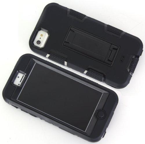iPhone 5C Shockproof Custodia,Heavy Duty Nero PU & PC Urti Assorbimento Case Robusto Back Paraurti Caso Armatura ibrida Kickstand Protettiva Case Shell Cover per iPhone 5C