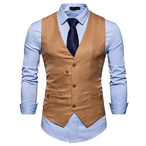 Blazer Kaki Des Slim Fashion Couleur Neck Mariage Fit V Costume Gilet Loisirs Unie Hommes Tuxedo Gilets Retro De TqwUE4Z