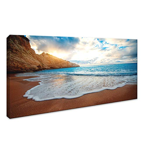 Canvas Wall Art Sunset Beach Blue Waves Ocean Wall Art Decor Large Modern Bedroom Mural Artwork Canvas Prints Contemporary Nature Pictures Framed Ready to Hang for Home Decoration Size: (20inx40in)