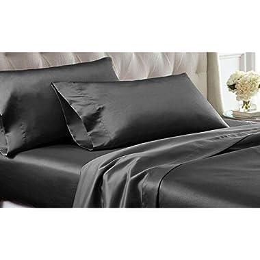Bedify Bedding 100% Pure Silk Satin Sheet Set 4pcs, Silk Fitted Sheet 15'' Deep Pocket,Silk Flat Sheet & Pillowcases Set !!! Queen, Dark Grey
