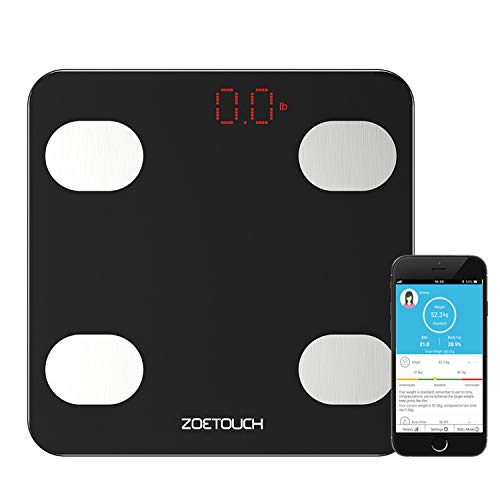 Smart Scale, Digital Bathroom Weight Scale Body Fat Scales Body Composition Analyzer Health Monitor App for iOS and Android, Capacity of 11-396lb