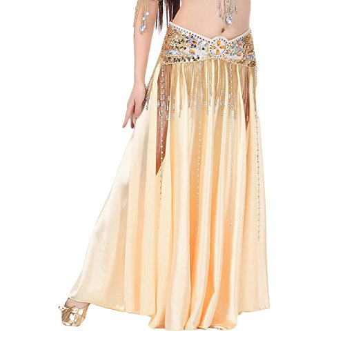 [AvaCostume Womens Split Sides Long Belly Dance Skirts, gold,One Size] (Designer Belly Dance Costumes)