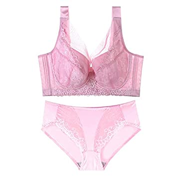 Plus Size 46 48 50 Bra Set Lingerie Panties and Bra E F Cup Lingerie for Women Plus Size Briefs L-XXXL Size Panties Lady Bra Set WSF-NEIYI Color : Pink, Size : E-46