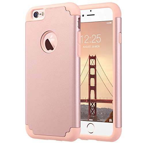 ULAK iPhone 6S Case, iPhone 6 Case, Slim Fit Dual Layer Soft Silicone & Hard Back Cover Bumper Protective Shock-Absorption & Skid-Proof Anti-Scratch Case for Apple iPhone 6 / 6S 4.7 inch- Rose Gold