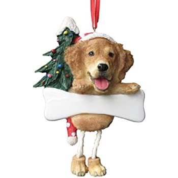 golden retriever ornament with unique dangling legs hand painted and easily personalized christmas ornament