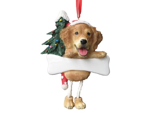 "Golden Retriever Ornament with Unique ""Dangling Legs"" Hand Painted and Easily Personalized Christmas Ornament"